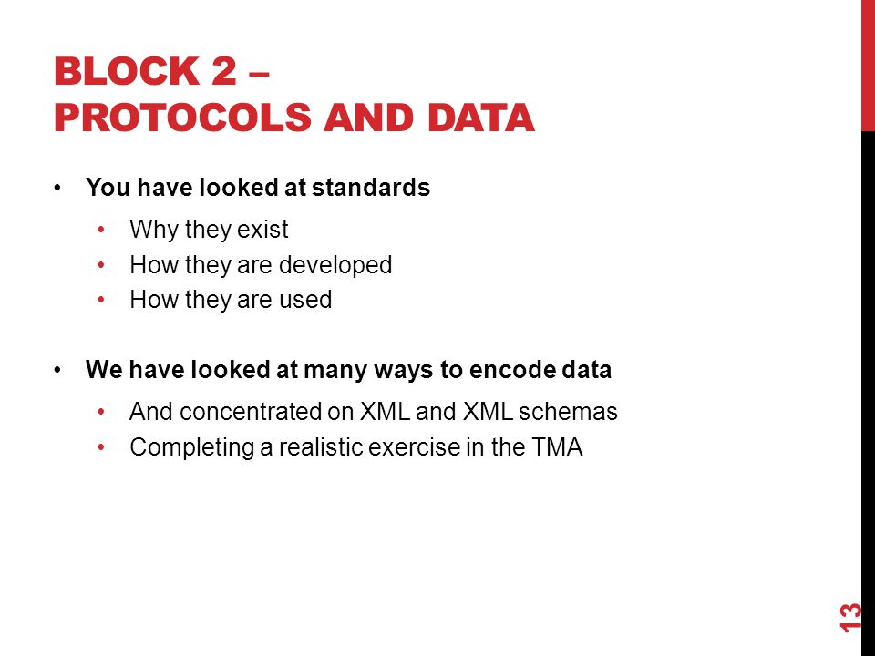 BLOCK 2 – PROTOCOLS AND DATA You have looked at standards Why they exist How they are developed How they are used We have looked at many ways to encod
