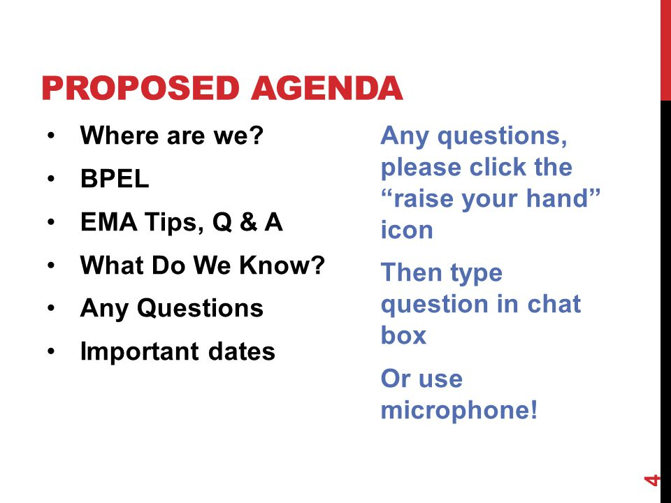 PROPOSED AGENDA Where are we. BPEL EMA Tips, Q & A What Do We Know.