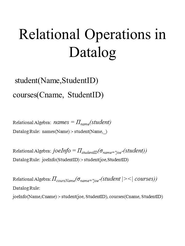 Relational Operations in Datalog Relational Algebra: names = Π name (student) Datalog Rule: names(Name) :- student(Name,_) Relational Algebra: joeInfo