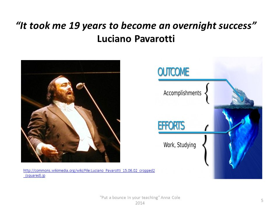 """""""It took me 19 years to become an overnight success"""" Luciano Pavarotti"""