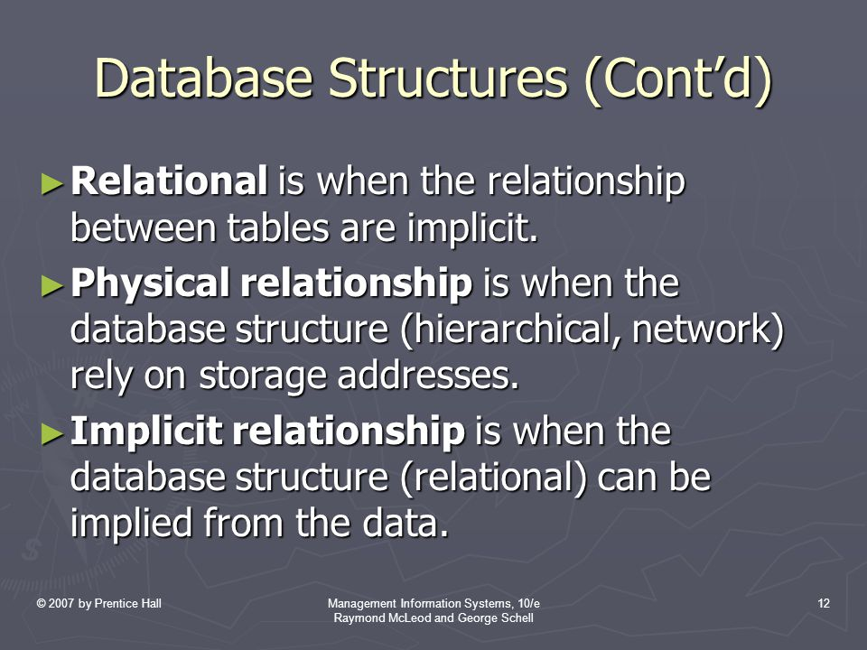 © 2007 by Prentice HallManagement Information Systems, 10/e Raymond McLeod and George Schell 12 Database Structures (Cont'd) ► Relational is when the