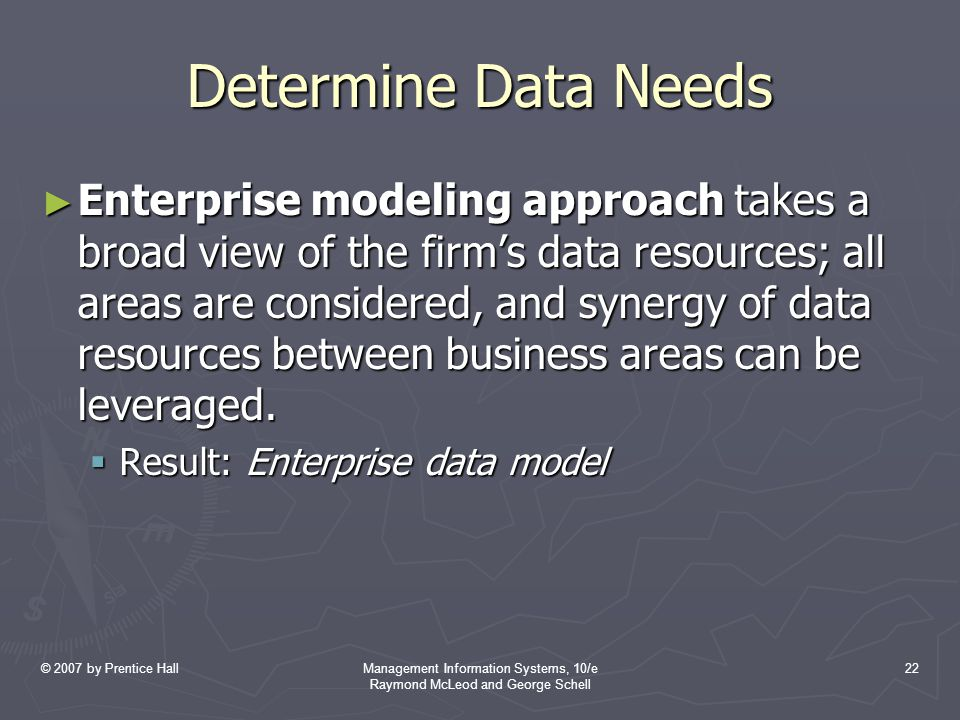 © 2007 by Prentice HallManagement Information Systems, 10/e Raymond McLeod and George Schell 22 Determine Data Needs ► Enterprise modeling approach takes a broad view of the firm's data resources; all areas are considered, and synergy of data resources between business areas can be leveraged.