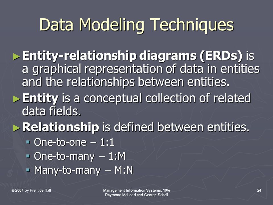 © 2007 by Prentice HallManagement Information Systems, 10/e Raymond McLeod and George Schell 24 Data Modeling Techniques ► Entity-relationship diagrams (ERDs) is a graphical representation of data in entities and the relationships between entities.