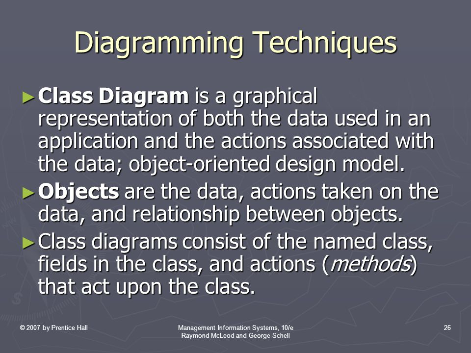 © 2007 by Prentice HallManagement Information Systems, 10/e Raymond McLeod and George Schell 26 Diagramming Techniques ► Class Diagram is a graphical representation of both the data used in an application and the actions associated with the data; object-oriented design model.