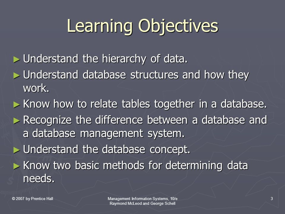 © 2007 by Prentice HallManagement Information Systems, 10/e Raymond McLeod and George Schell 3 Learning Objectives ► Understand the hierarchy of data.