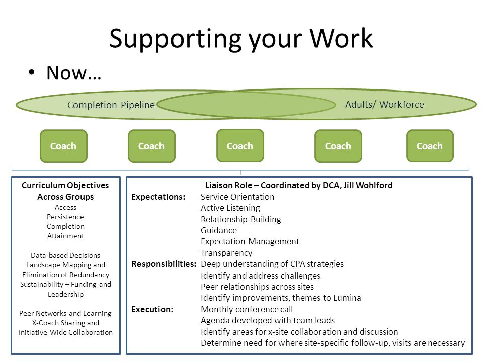 Supporting your Work Now… Completion Pipeline Adults/ Workforce Coach Curriculum Objectives Across Groups Access Persistence Completion Attainment Data-based Decisions Landscape Mapping and Elimination of Redundancy Sustainability – Funding and Leadership Peer Networks and Learning X-Coach Sharing and Initiative-Wide Collaboration Liaison Role – Coordinated by DCA, Jill Wohlford Expectations: Service Orientation Active Listening Relationship-Building Guidance Expectation Management Transparency Responsibilities:Deep understanding of CPA strategies Identify and address challenges Peer relationships across sites Identify improvements, themes to Lumina Execution:Monthly conference call Agenda developed with team leads Identify areas for x-site collaboration and discussion Determine need for where site-specific follow-up, visits are necessary