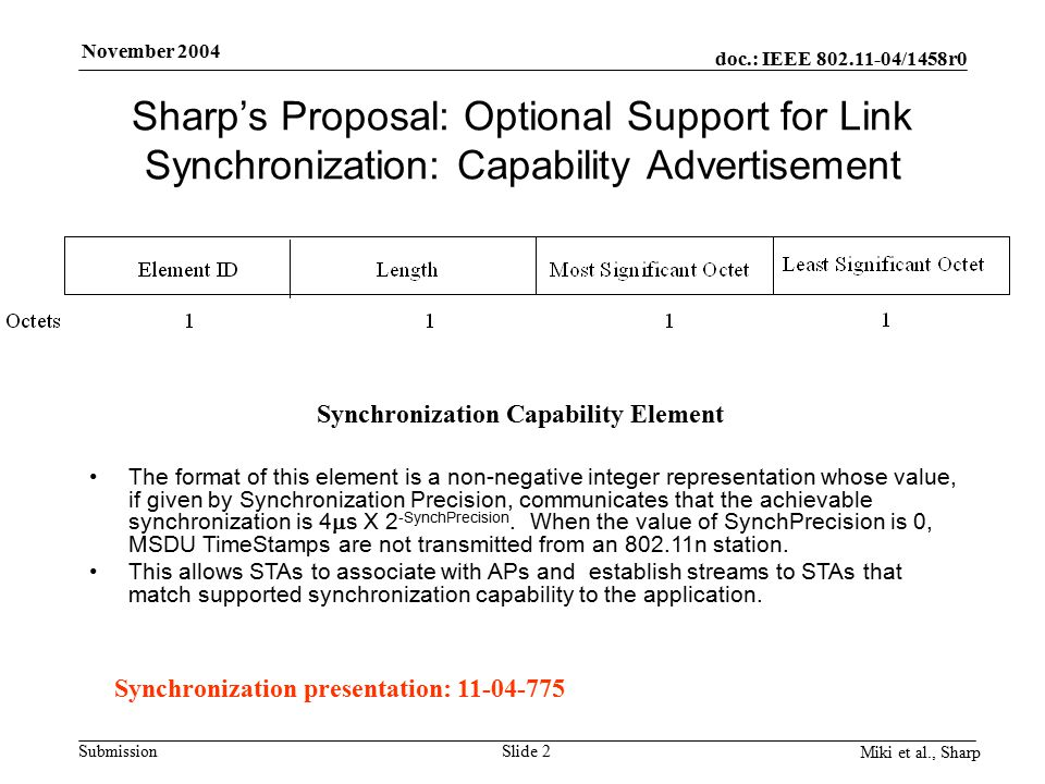 doc.: IEEE 802.11-04/1458r0 Submission November 2004 Miki et al., Sharp Slide 2 Sharp's Proposal: Optional Support for Link Synchronization: Capability Advertisement The format of this element is a non-negative integer representation whose value, if given by Synchronization Precision, communicates that the achievable synchronization is 4  s X 2 -SynchPrecision.