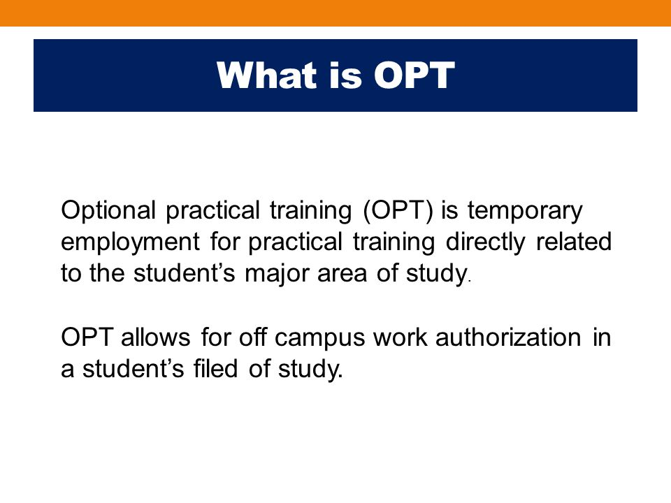 Travel on OPT An F‐1 student engaged in pre‐completion OPT follows the same procedure for visits abroad and re‐entry as all F‐1 students.