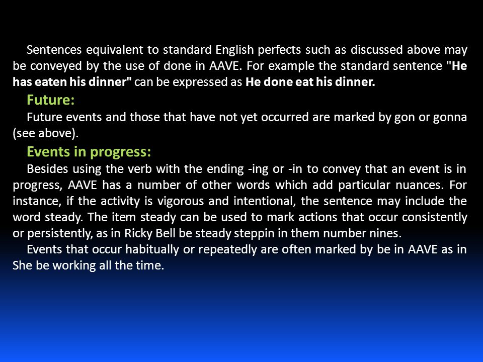 Sentences equivalent to standard English perfects such as discussed above may be conveyed by the use of done in AAVE. For example the standard sentenc