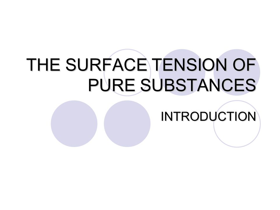 THE SURFACE TENSION OF PURE SUBSTANCES INTRODUCTION