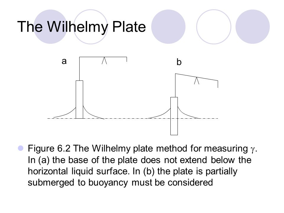 The Wilhelmy Plate Figure 6.2 The Wilhelmy plate method for measuring .