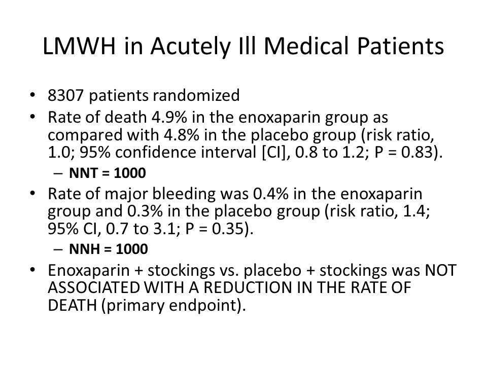LMWH in Acutely Ill Medical Patients 8307 patients randomized Rate of death 4.9% in the enoxaparin group as compared with 4.8% in the placebo group (risk ratio, 1.0; 95% confidence interval [CI], 0.8 to 1.2; P = 0.83).