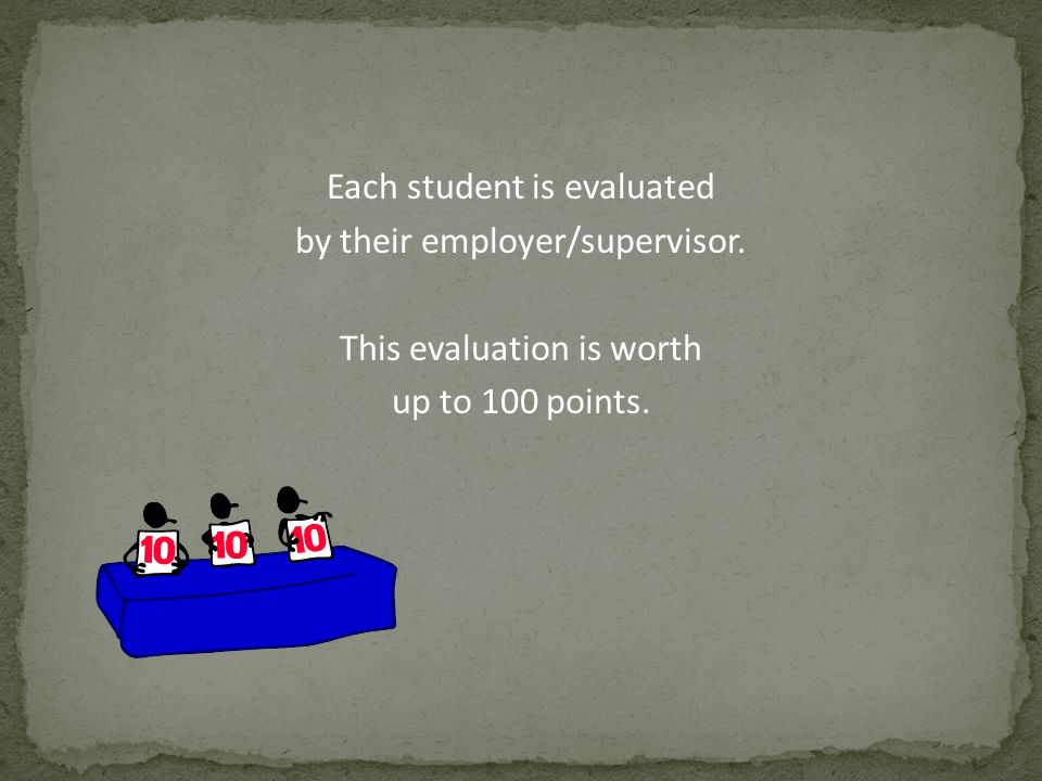 Each student is evaluated by their employer/supervisor. This evaluation is worth up to 100 points.