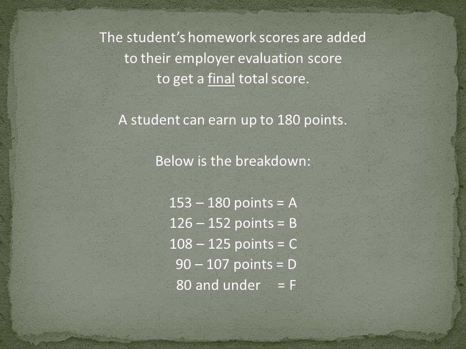 The student's homework scores are added to their employer evaluation score to get a final total score. A student can earn up to 180 points. Below is t