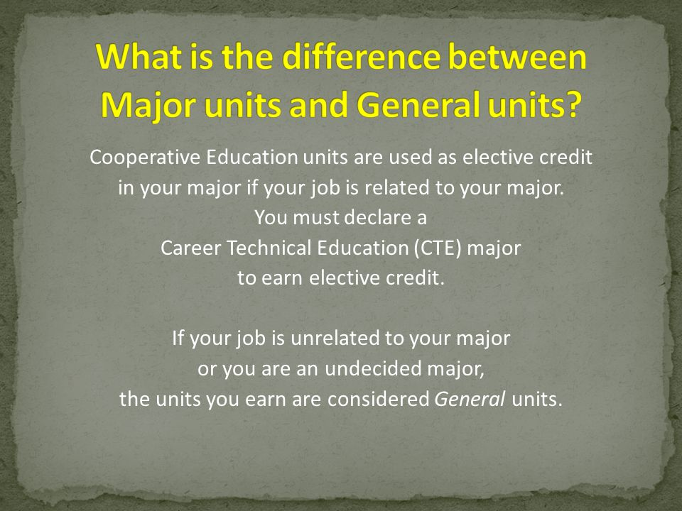 Cooperative Education units are used as elective credit in your major if your job is related to your major. You must declare a Career Technical Educat
