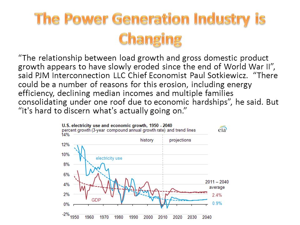 The relationship between load growth and gross domestic product growth appears to have slowly eroded since the end of World War II , said PJM Interconnection LLC Chief Economist Paul Sotkiewicz.