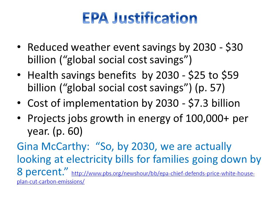 Reduced weather event savings by 2030 - $30 billion ( global social cost savings ) Health savings benefits by 2030 - $25 to $59 billion ( global social cost savings ) (p.