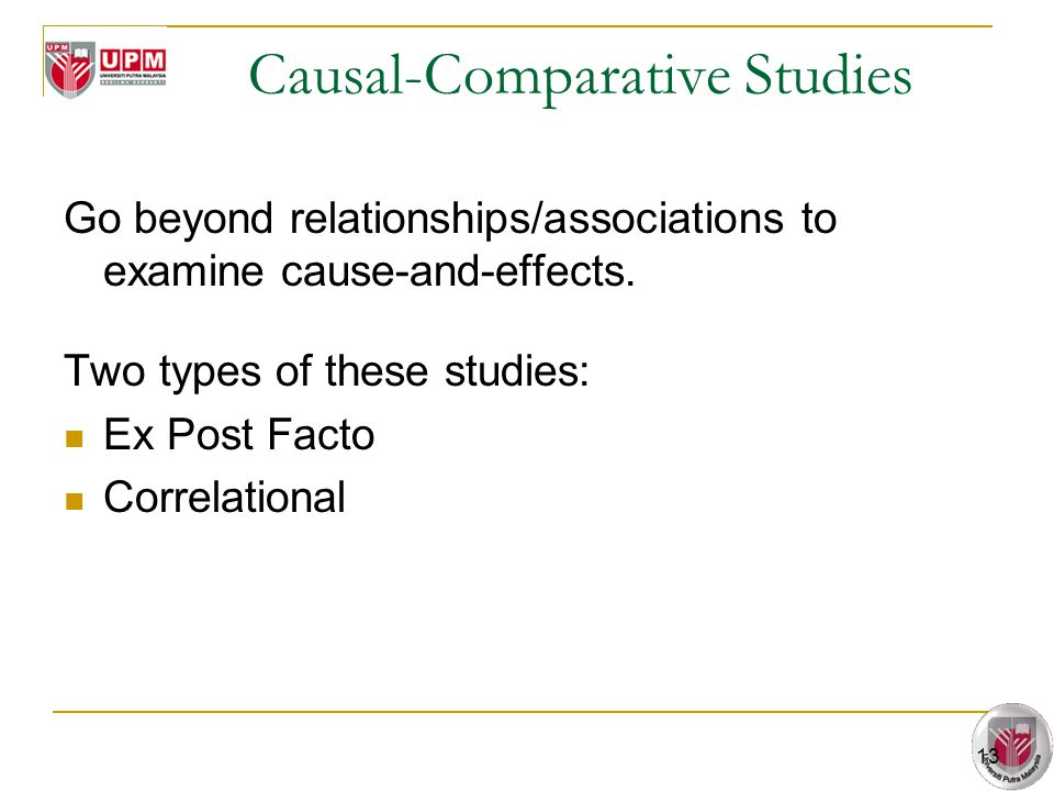 13 Causal-Comparative Studies Go beyond relationships/associations to examine cause-and-effects. Two types of these studies: Ex Post Facto Correlation