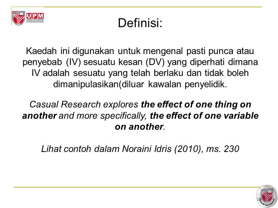 13 Definisi: Kaedah ini digunakan untuk mengenal pasti punca atau penyebab (IV) sesuatu kesan (DV) yang diperhati dimana IV adalah sesuatu yang telah berlaku dan tidak boleh dimanipulasikan(diluar kawalan penyelidik.