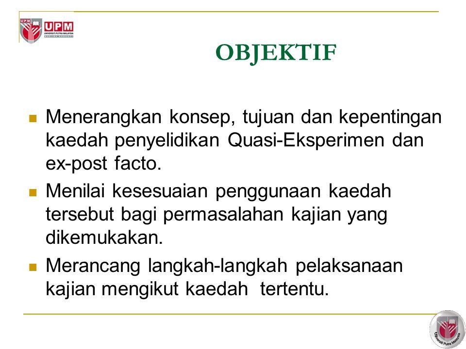 3 OBJEKTIF Menerangkan konsep, tujuan dan kepentingan kaedah penyelidikan Quasi-Eksperimen dan ex-post facto.