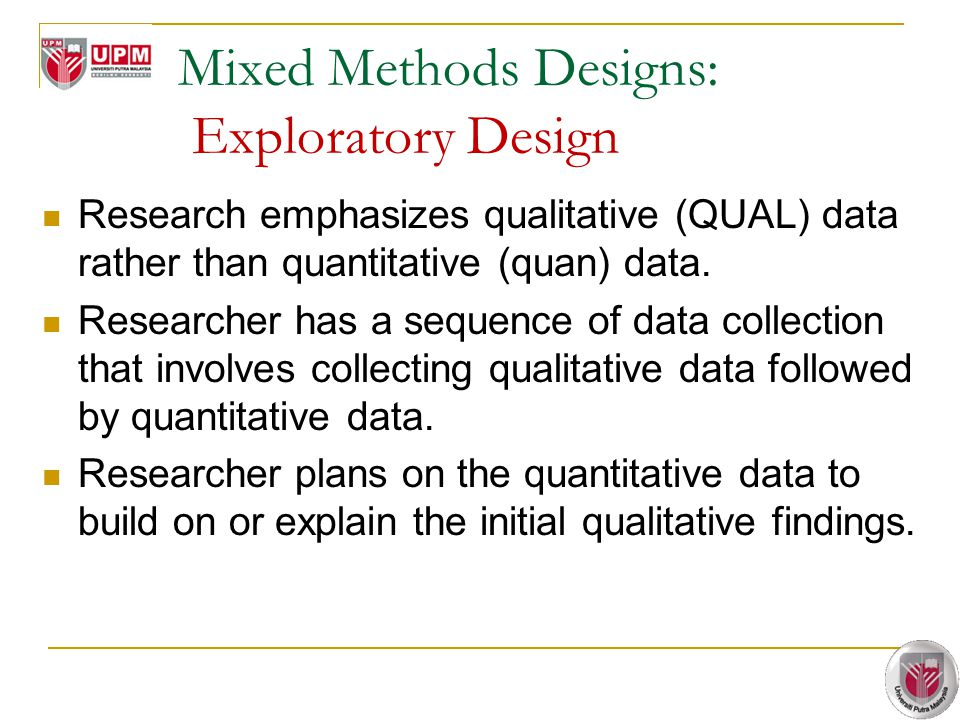 Mixed Methods Designs: Exploratory Design Research emphasizes qualitative (QUAL) data rather than quantitative (quan) data.