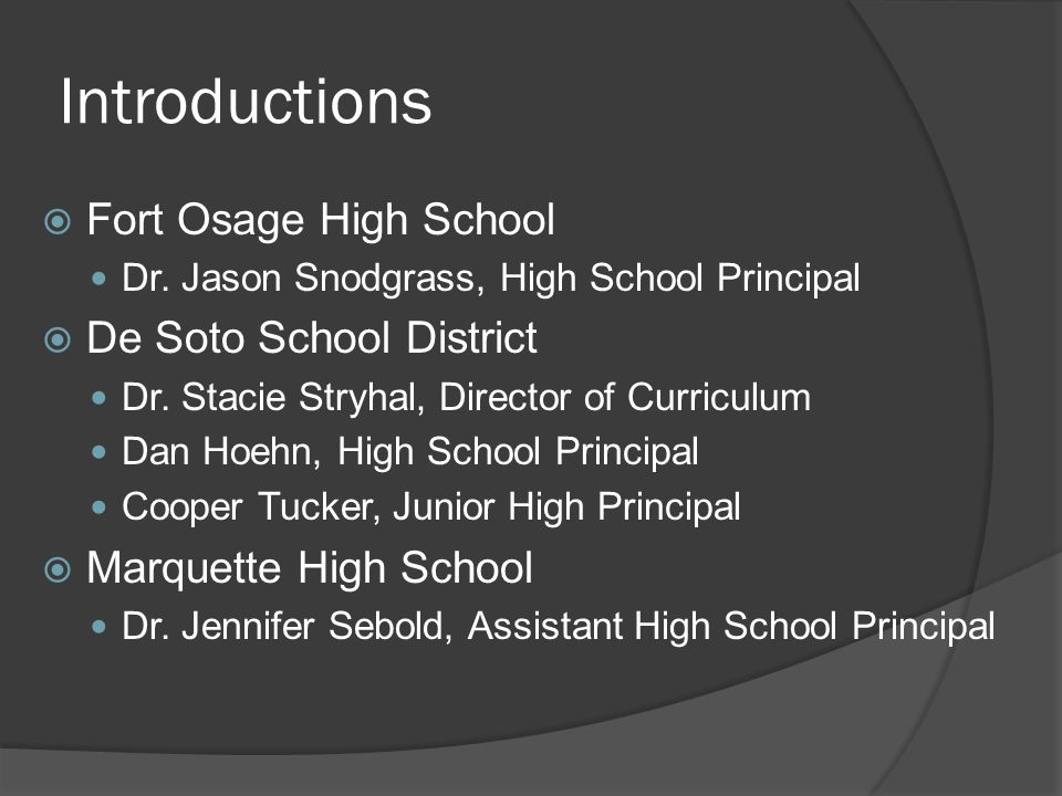 Introductions  Fort Osage High School Dr.