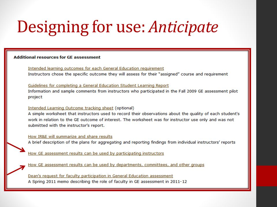 Designing for use: Anticipate