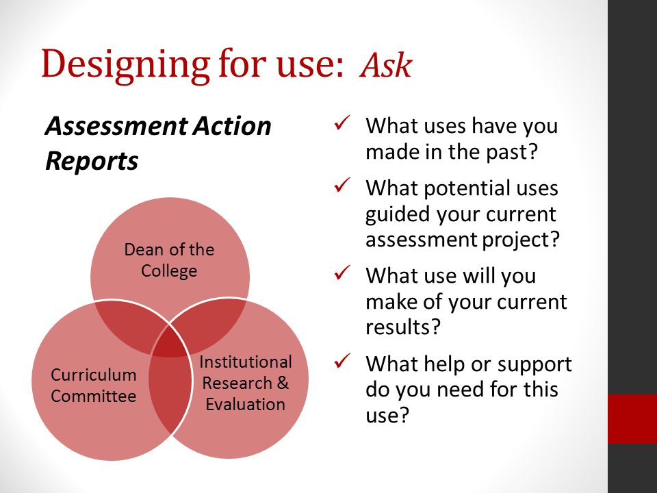 Designing for use: Ask What uses have you made in the past.