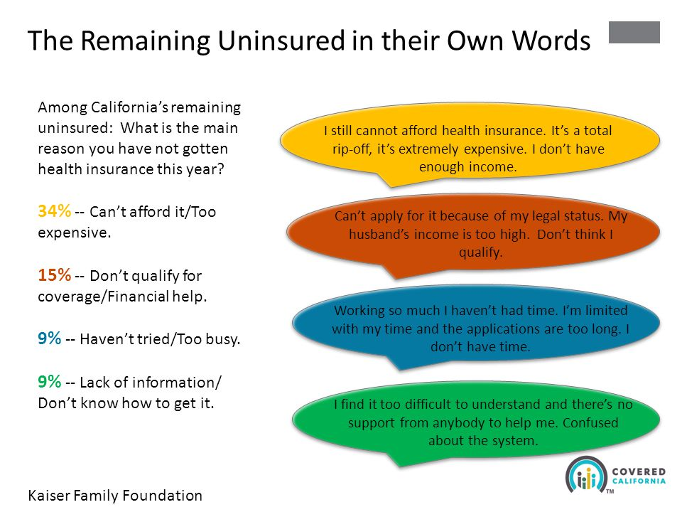 The Remaining Uninsured in their Own Words I still cannot afford health insurance.