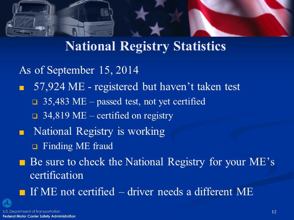 National Registry Statistics As of September 15, 2014 ■ 57,924 ME - registered but haven't taken test  35,483 ME – passed test, not yet certified  3