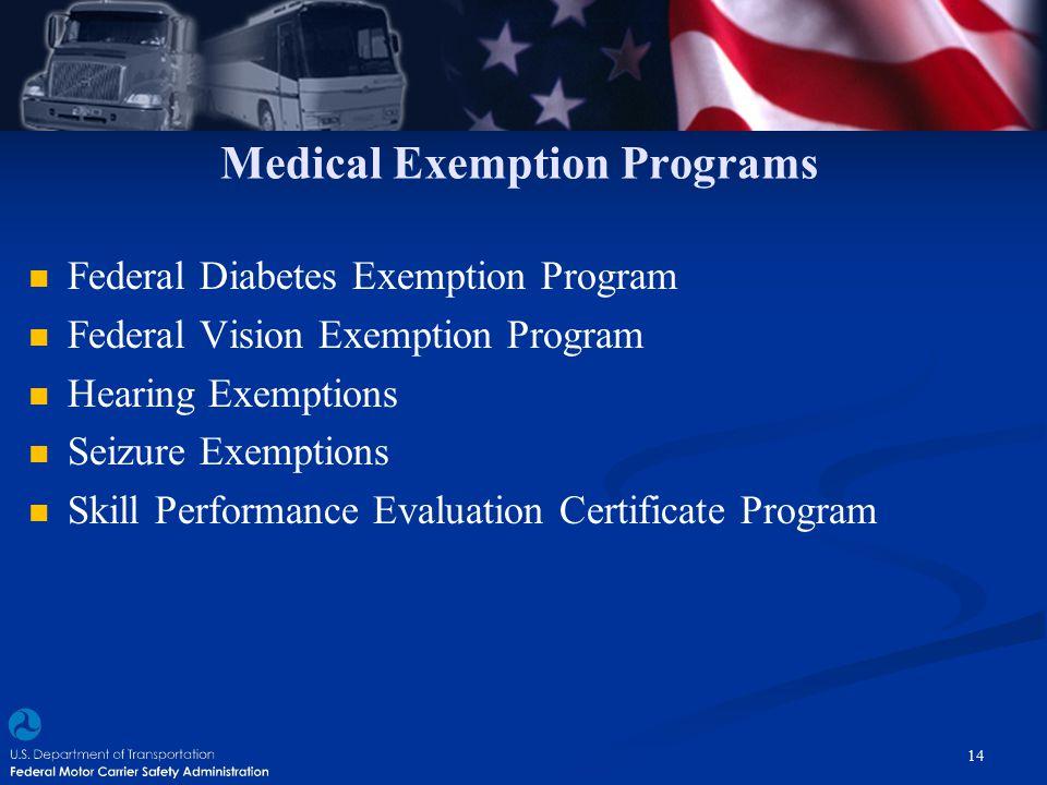 Medical Exemption Programs Federal Diabetes Exemption Program Federal Vision Exemption Program Hearing Exemptions Seizure Exemptions Skill Performance