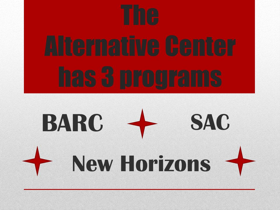 The Alternative Center has 3 programs SAC BARC New Horizons