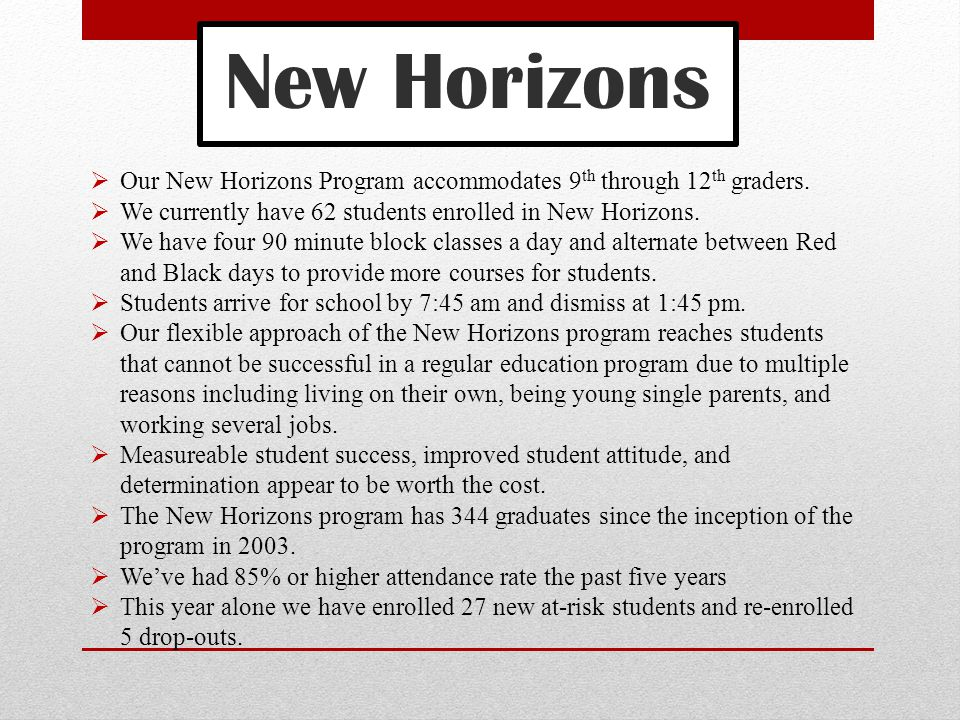 New Horizons  Our New Horizons Program accommodates 9 th through 12 th graders.