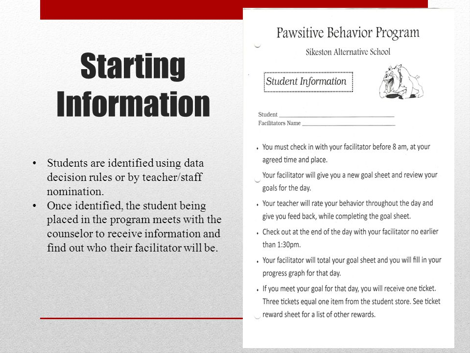 Starting Information Students are identified using data decision rules or by teacher/staff nomination.