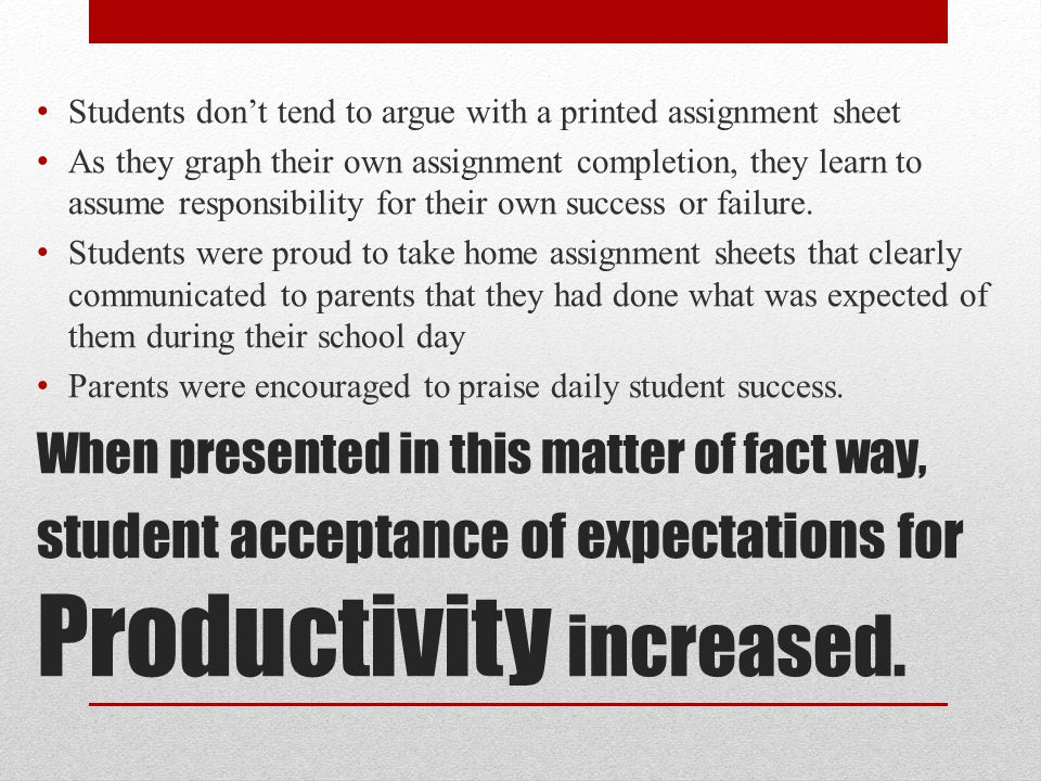 When presented in this matter of fact way, student acceptance of expectations for Productivity increased.
