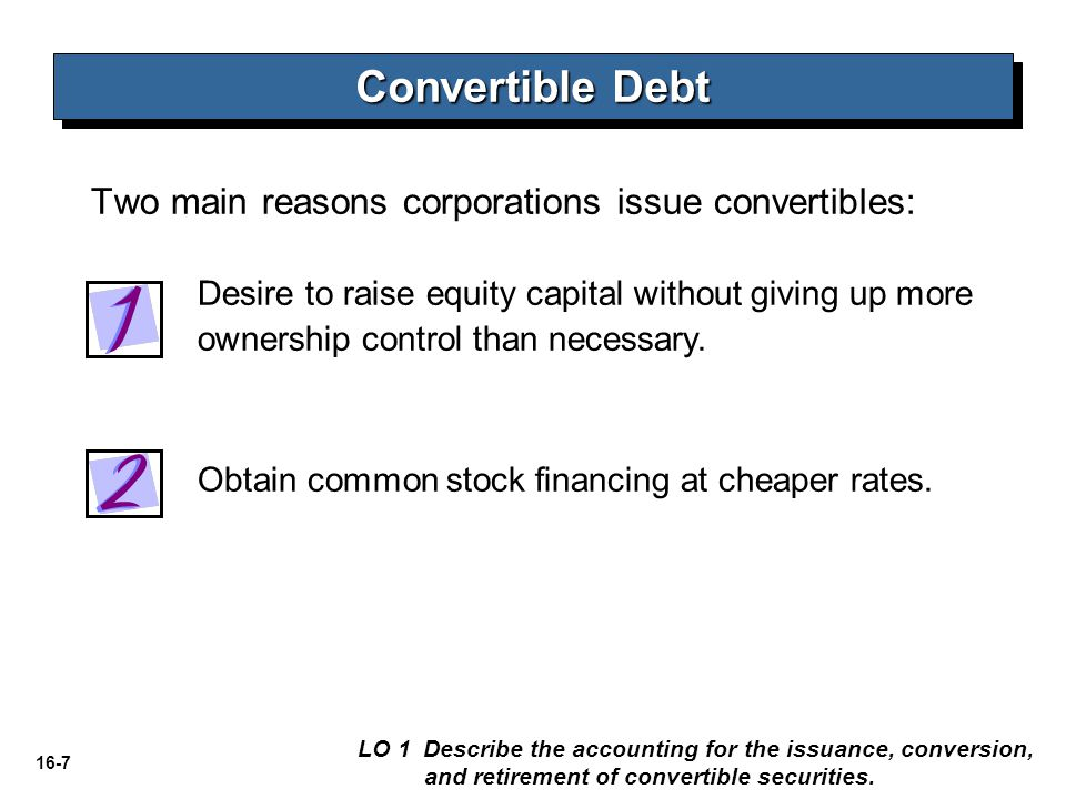 16-18 Settlement of Convertible Bonds Convertible Debt LO 1 Describe the accounting for the issuance, conversion, and retirement of convertible securities.