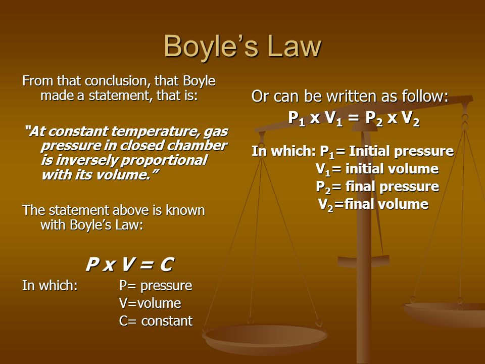 "Boyle's Law From that conclusion, that Boyle made a statement, that is: ""At constant temperature, gas pressure in closed chamber is inversely proporti"