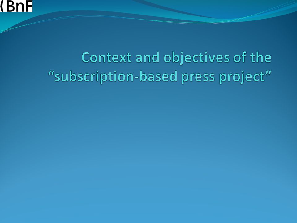 August 20 th 2014 Harvesting digital newspapers at the BnF – Clément Oury – IFLA WLIC conference 14 (n° 1, oct./nov.