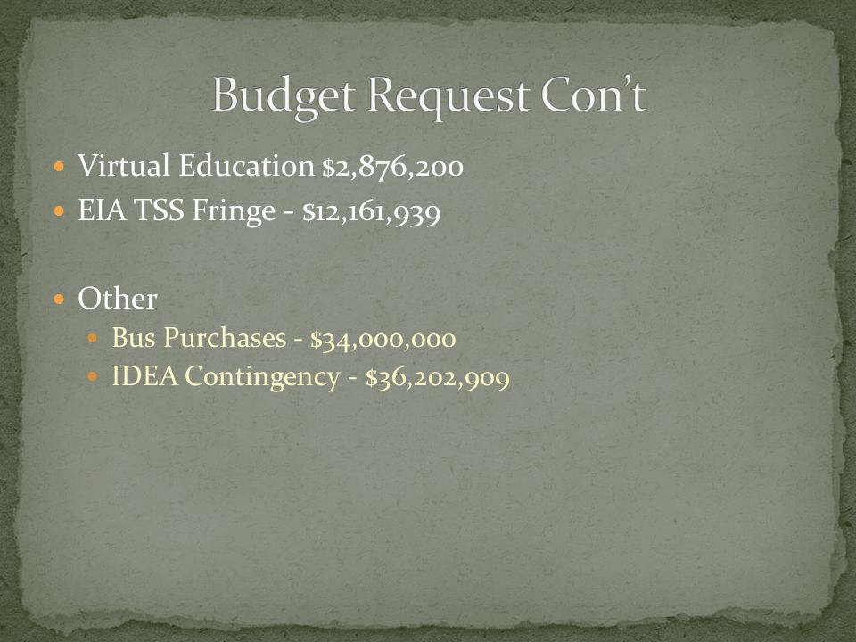Virtual Education $2,876,200 EIA TSS Fringe - $12,161,939 Other Bus Purchases - $34,000,000 IDEA Contingency - $36,202,909