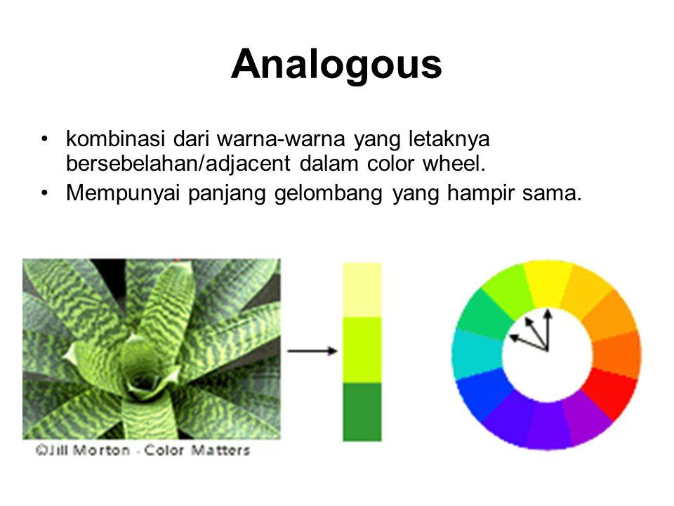 Analogous kombinasi dari warna-warna yang letaknya bersebelahan/adjacent dalam color wheel.