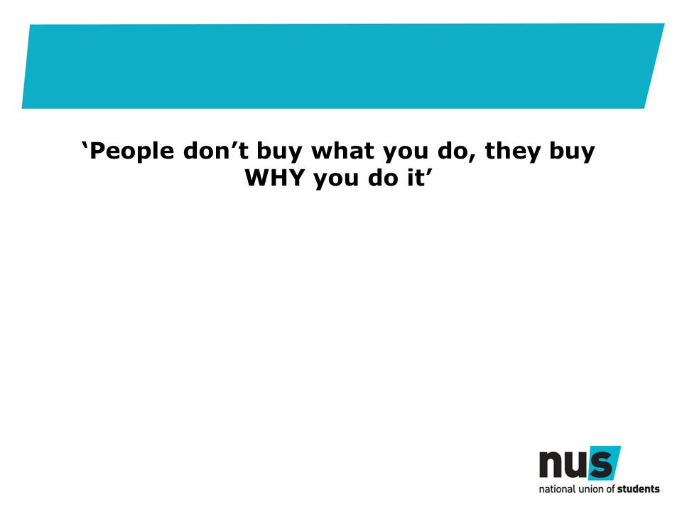 'People don't buy what you do, they buy WHY you do it'