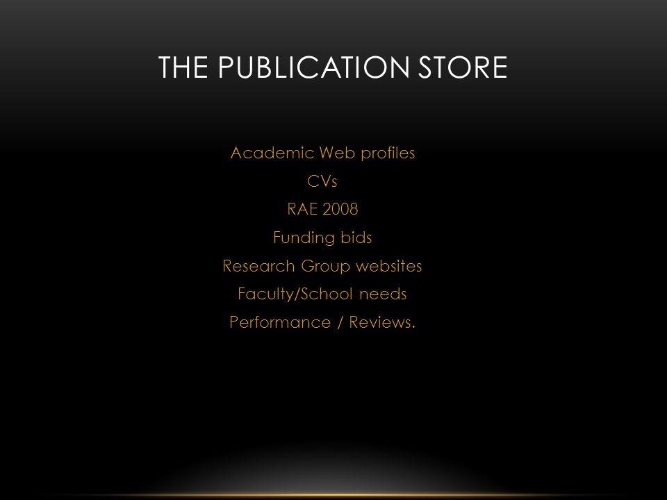 Academic Web profiles CVs RAE 2008 Funding bids Research Group websites Faculty/School needs Performance / Reviews.