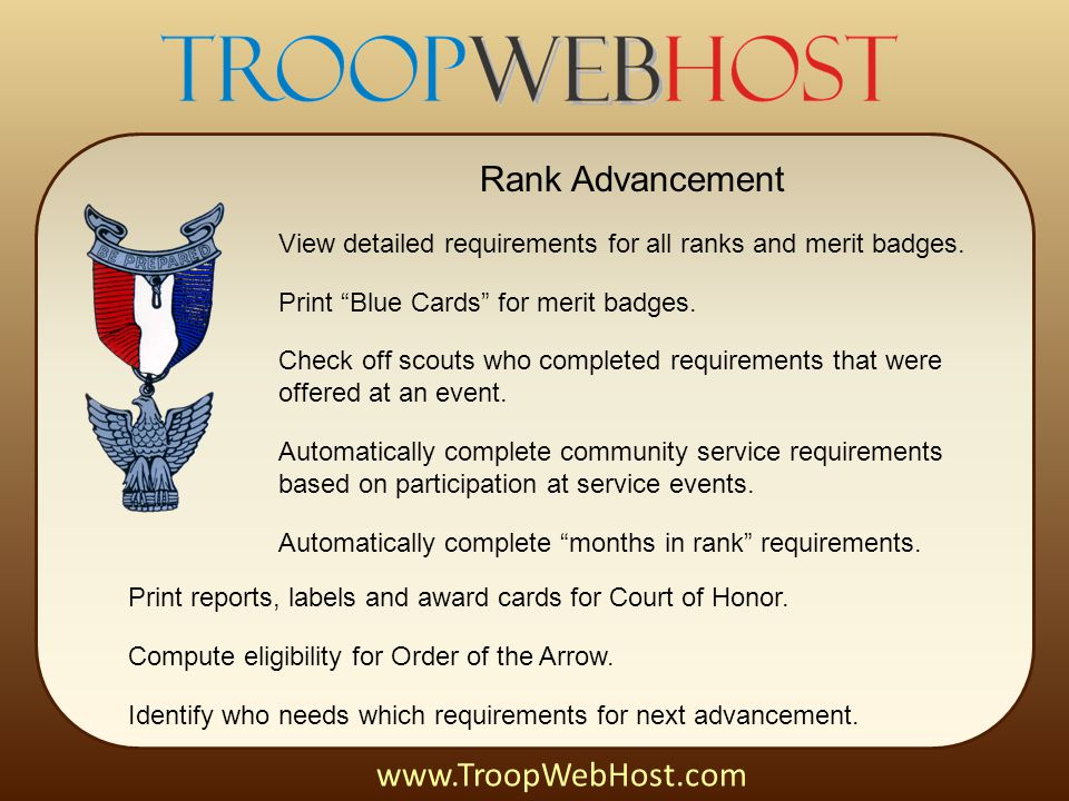 Rank Advancement View detailed requirements for all ranks and merit badges.