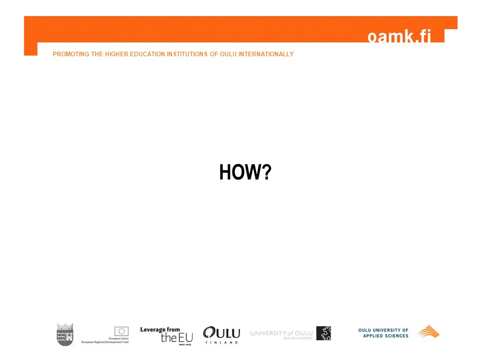 PROMOTING THE HIGHER EDUCATION INSTITUTIONS OF OULU INTERNATIONALLY HOW