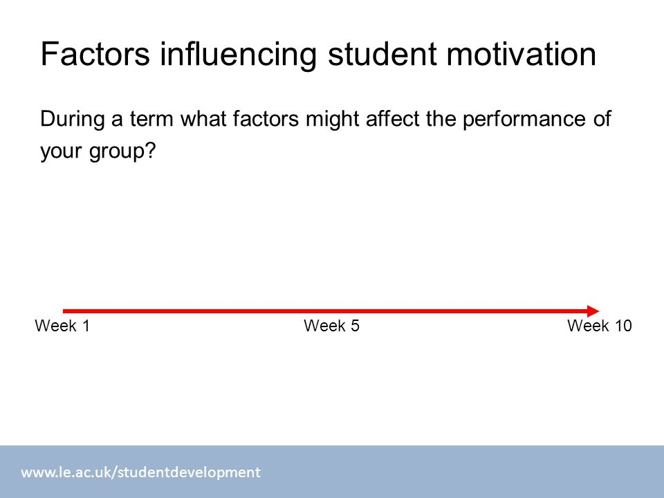 www.le.ac.uk/studentdevelopment Factors influencing student motivation During a term what factors might affect the performance of your group? Week 1We