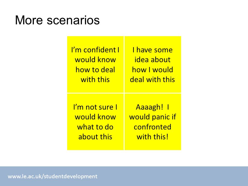 www.le.ac.uk/studentdevelopment More scenarios I'm confident I would know how to deal with this I have some idea about how I would deal with this Aaaa