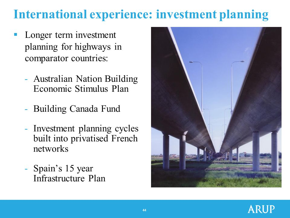 44 International experience: investment planning  Longer term investment planning for highways in comparator countries: -Australian Nation Building Economic Stimulus Plan -Building Canada Fund -Investment planning cycles built into privatised French networks -Spain's 15 year Infrastructure Plan