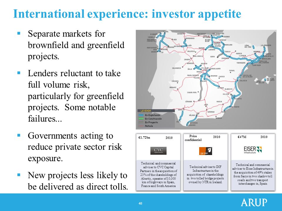 48 International experience: investor appetite  Separate markets for brownfield and greenfield projects.