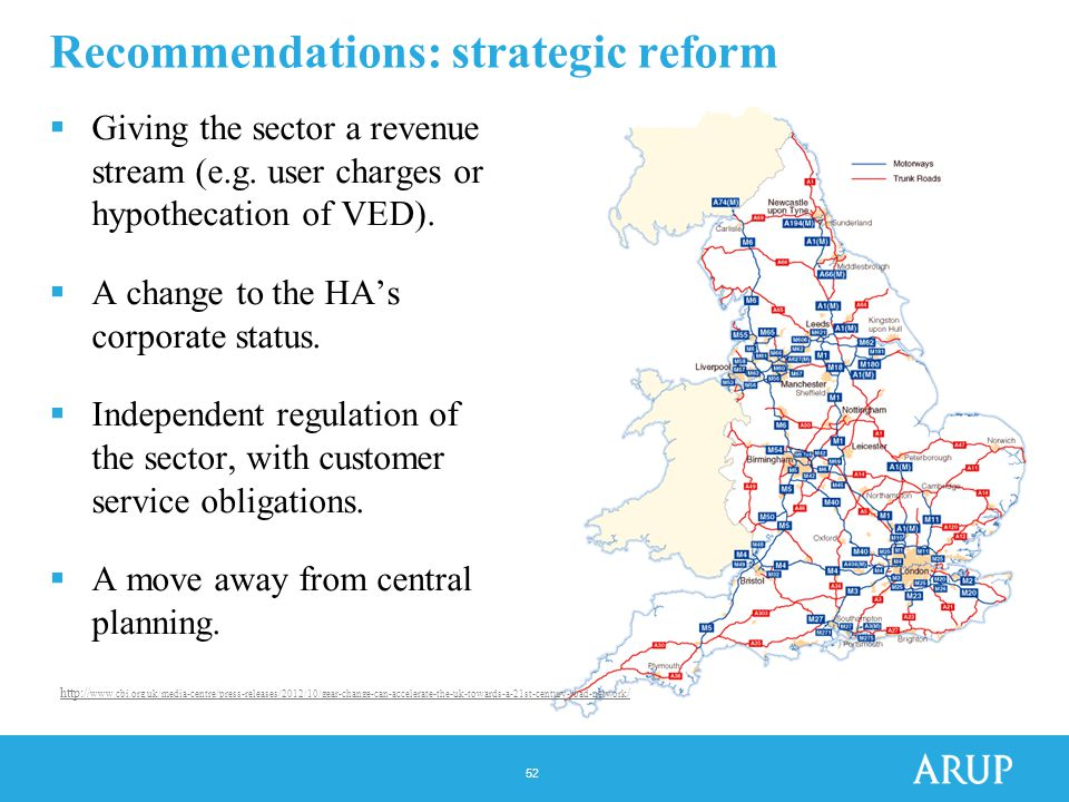 52 Recommendations: strategic reform  Giving the sector a revenue stream (e.g.