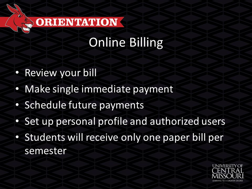 Online Billing Review your bill Make single immediate payment Schedule future payments Set up personal profile and authorized users Students will receive only one paper bill per semester